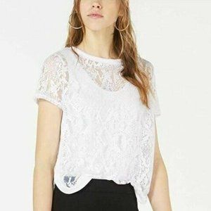 Bar III S Bright White Burnout Mesh Top NWT Y53